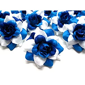 """(24) Silk Two-tone Blue Roses Flower Head - 1.75"""" - Artificial Flowers Heads Fabric Floral Supplies Wholesale Lot for Wedding Flowers Accessories Make Bridal Hair Clips Headbands Dress 4"""