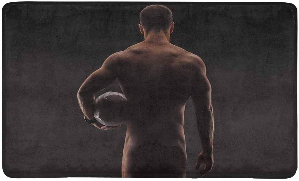 INTERESTPRINT Funny Strong Muscular Sexy Naked Man with Soccer Ball Closeup Doormat Anti-Slip Entrance Mat Floor Rug Indoor Outdoor Front Door Mats Home Decor, Rubber Backing Large 30 L x 18 W