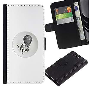 For Sony Xperia Z1 Compact / Z1 Mini / D5503,S-type® Monkey Retro Black White Hot Air Balloon - Dibujo PU billetera de cuero Funda Case Caso de la piel de la bolsa protectora