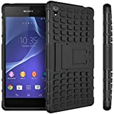 Defender Hard Armor Hybrid Rubber Bumper Flip Stand Rugged Back Case Cover for Sony Xperia Z3 - Black
