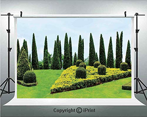 (Country Home Decor Photography Backdrops Classic Formal Designed Garden with Evergreen Shrubs Boxwood Topiaries,Birthday Party Background Customized Microfiber Photo Studio Props,5x3ft,)