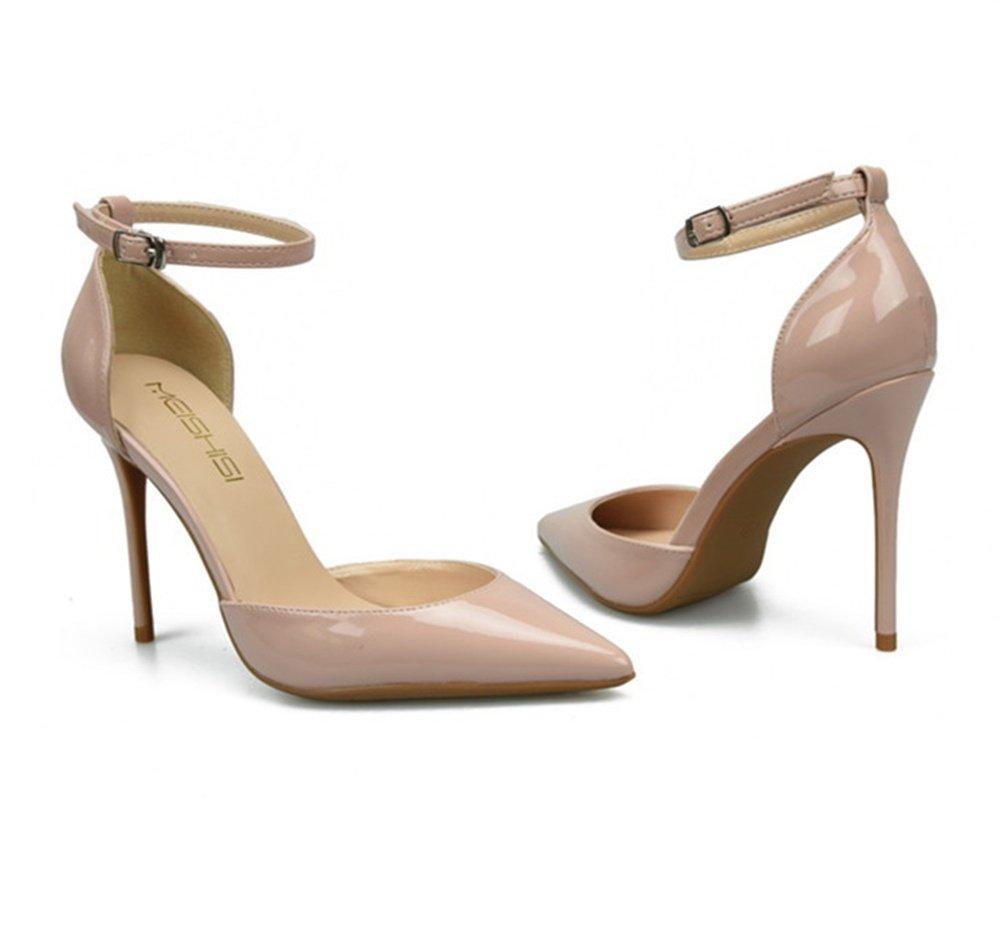 Damen Spitz Zehe Riemchen Plattform Stilett Hoch Hoch Stilett Hacke Knöchel Gurt Sandalen Pumps Party Schuhe Größe apricot 62a514