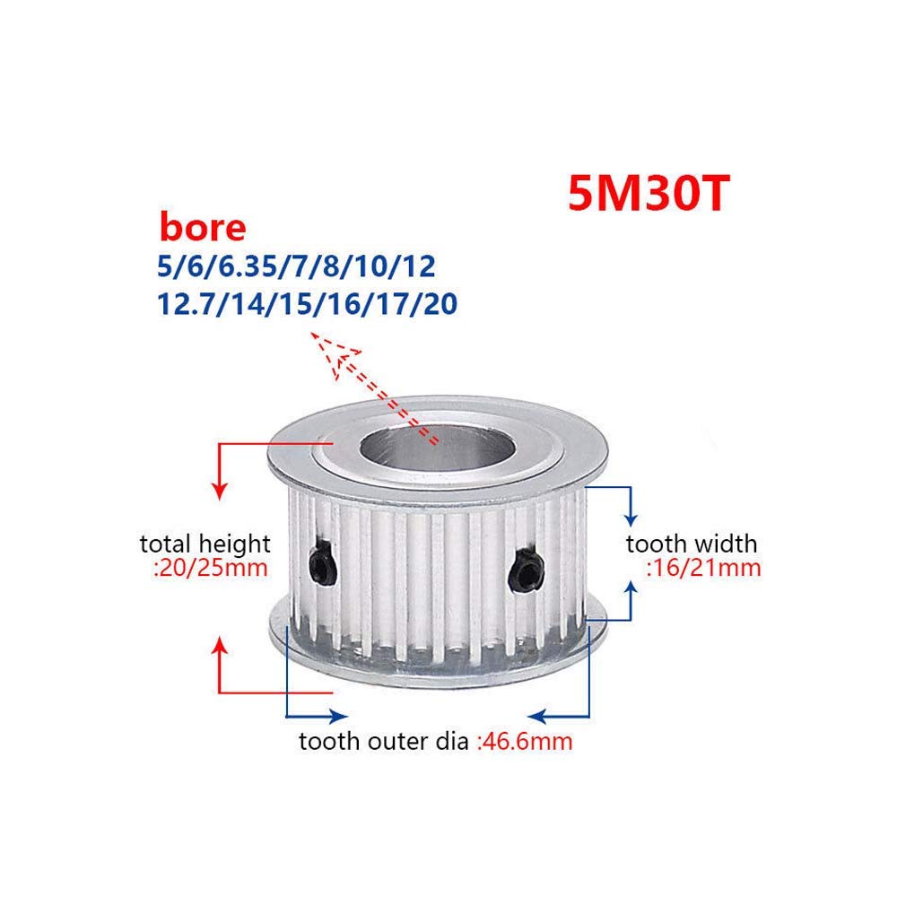 5M30T Synchronous Wheel 5mm Pitch Timing Belt Pulley 14mm Bore For 20mm Width Belt Width Belt:21mm, Bore 14mm