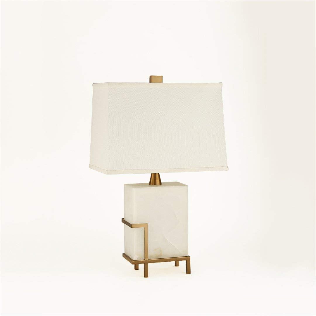 L.BAN Lámpara de Mesa de mármol Nueva Villa clásica Sala de Estar Lámpara de Escritorio de Estudio Lámpara de Dormitorio Americana Simple