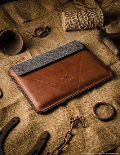 MacBook Pro 13/15 / 16 Zoll Classic Brown Etui/Hülle, 100% Wollfilz, 2020 MacBook Air 13 Zoll Gehäuse handgefertigt, einzigartig Vintage echte Crazy Horse Leder – Laptoptasche, Crazy Horse Craft