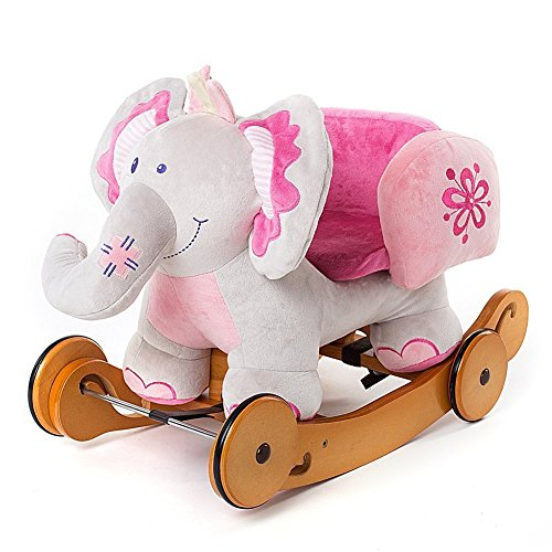 Labebe Modern Plush Rocking Horse with Padded Animal for Little Toddlers Kids Baby Boys & Girls (6-36 Months), Indoor Ride On Toys Rockers with Wheels and Sound Paper - Cute Stuffed Pink Elephant