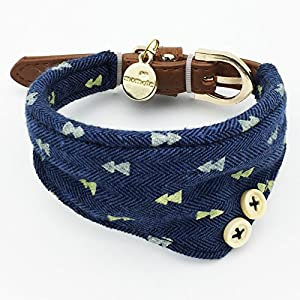 PETFAVORITES Small Dog Costume Collar - Plaid Bowtie Kitten Bandana Collar for Halloween - Teacup Yorkie Chihuahua Clothes Outfits Accessories, Adjustable & Handmade (Navy Note Scarf)
