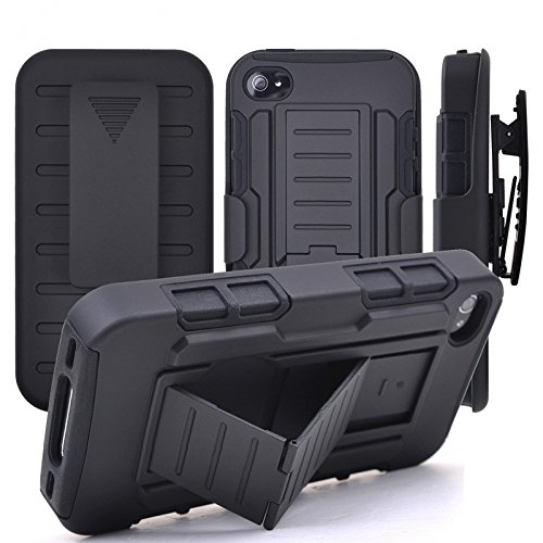 iPhone 4/4S Case, Stanlance Swivel Belt Clip Holster Shell Cover with Kickstand [MILITARY GRADE] Heavy Duty Sturdy Rubber Armor Case for iPhone 4/4s