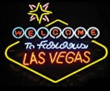 iecool WELCOME TO LAS VEGAS Neon Sign 20''x24'' Real Glass Bright Neon Light for Poker Club Bar Game Room Casino