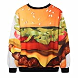 Samtree Digital Print Sweatshirts for Women,Crew Neck Graphic Pullover Sweater (Hamburger)