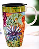 Watery Flower Blooms Ceramic Latte Travel Cup With Gift Box by Gifted Living