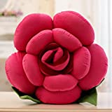 """Cyqun Rose Flower Throw Pillow Plush Doll,Rose Red,16"""""""