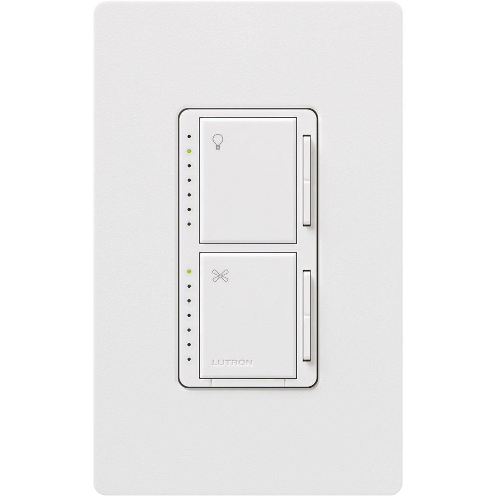 Lutron MA-LFQM-WH 300 Watt Maestro Multi-Location Fan and Light Control, White