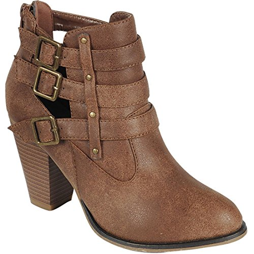 Forever Women's Buckle Strap Block Heel Ankle Booties, TPS Camila-62 Tan Size 8.5