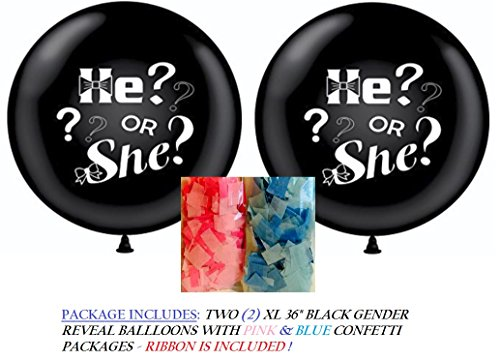 Pin Bombs Away (XL Gender Reveal Party Balloon Pop - with Shredded Pink & Blue Confetti - He or She Boy or Girl - Includes 2 Jumbo 36