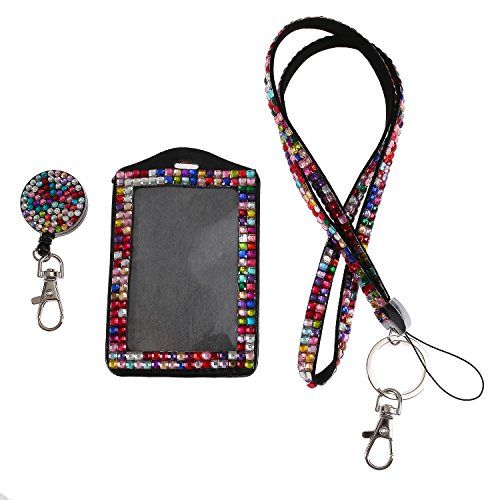 Purely Handmade Fashion Rainbow Bling Crystal Lanyard Cute Rhinestone Badge Holder With Necklace + Badge Reel + Vertical Business Card Holder ()