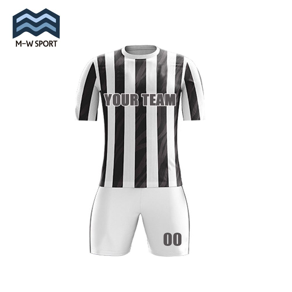 M-W Sports Classic Black and White Striped Pattern Soccer Uniforms Custom  Team Jerseys With Name and Number 64e3661cf