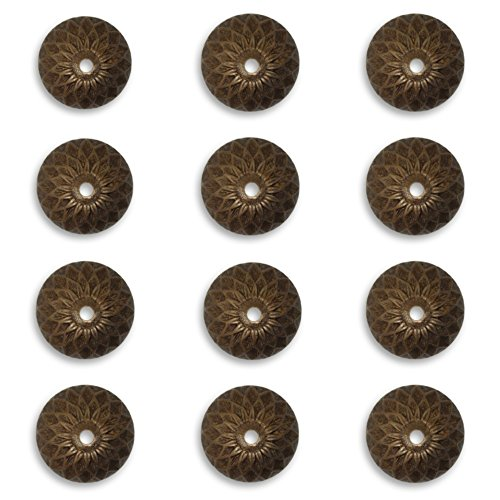 12 Vintaj Acorn Bead Caps Natural Brass, BC0003, 13mm for Jewelry Making