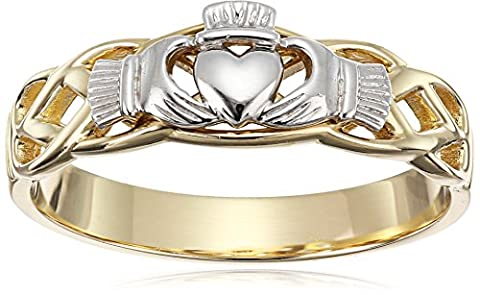 14k Gold Two-Tone Claddagh Ring, Size 7 (Womens Gold Claddagh Ring)