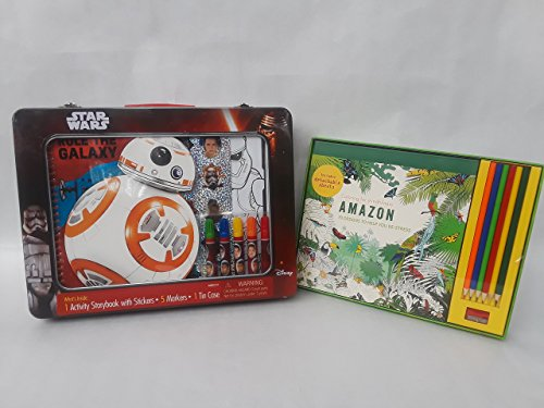 Star wars activity set includes 1 activity storybook with stickers 5 markers and 1 tin case also comes with a bonus adult amazon coloring for mindfulness set