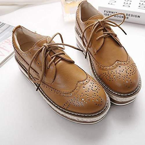 Cuero Planos Plataforma Deporte Mujer Retro Inglaterra Zapatillas Zapatos Bizcocho Mujer De Yellow qzzwSH
