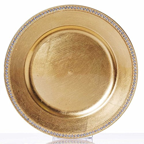 "Efavormart 13"" Round Gold Crystal Beaded Acrylic Charger Plates Wedding Party Dinner Servers - Set of 6"