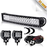 DOT 22/20Inch 120w Curved Led Light Bar Spot Flood Combo Off Road Driving Bumper Grill Roof Lights + 2PC 4In Cube Pods Fog Lights With Wiring Harness For Truck ATV Jeep UTV Boat Golf Cart Chevy Ford GMC OSRAM CHIPS 12V~24V
