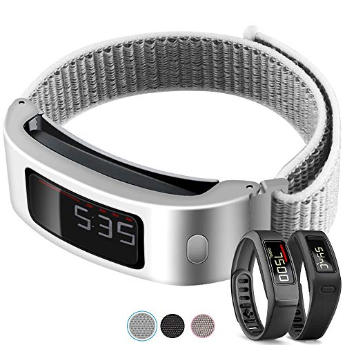 C2D JOY Only Compatible with Garmin Vivofit and Vivofit 2 Metal Case with Replacement Band, Sport Mesh Strap for Sports & Daily Wear Nylon Weave Accessory Fitness Watchband - 13#, M/6.3-8.2 in.
