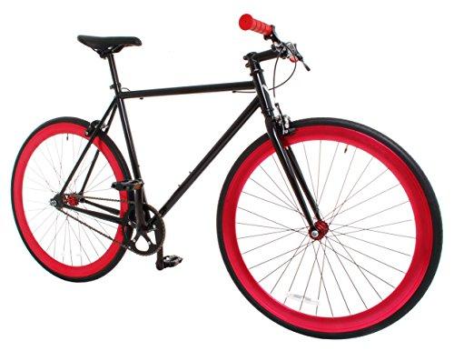 Vilano Rampage Fixed Gear Fixie Single Speed Road Bike, Black/Red, Large/58cm