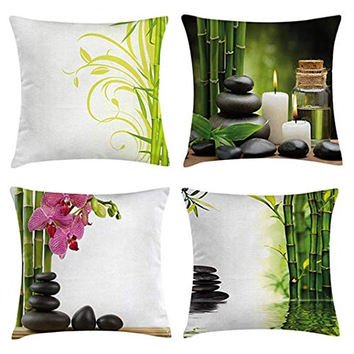 Emvency Set of 4 Throw Pillow Covers Green Bamboo with White Spa Hot Massage and Black Bamboos Decorative Pillow Cases Home Decor Square 18x18 Inches Pillowcases ()
