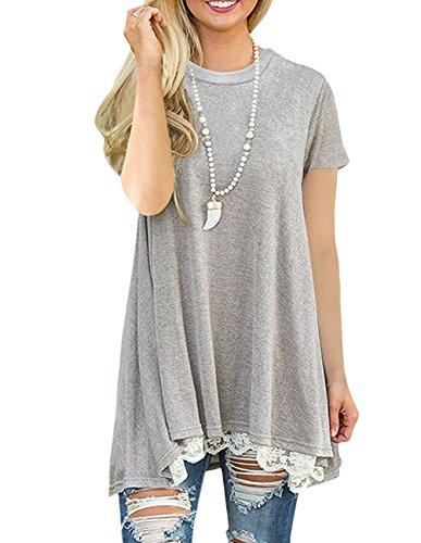Sleeve fba Shirts Loose Leggings Fit Top Tunic Womens Grey YOGINGO Casual Flowy for Long FYp6ZqZ