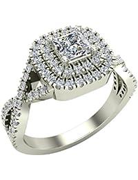 Twists Square Halo Princess Cut Engagement Ring 14K Gold 0.90 Ctw Diamonds (I,I1)