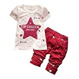 BibiCola Summer Baby Boys Clothes Set Stars Print Clothing Set Infant Children Clothing(Red,3T)