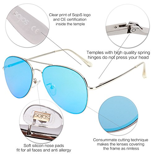 Argenté Lentille Cadre Cadre Bleu C4 de Classique Lentille Métal soleil Aviateur Lunettes Charnières Spring Mirror SOJOS SJ1030 avec nSZ6qIUU