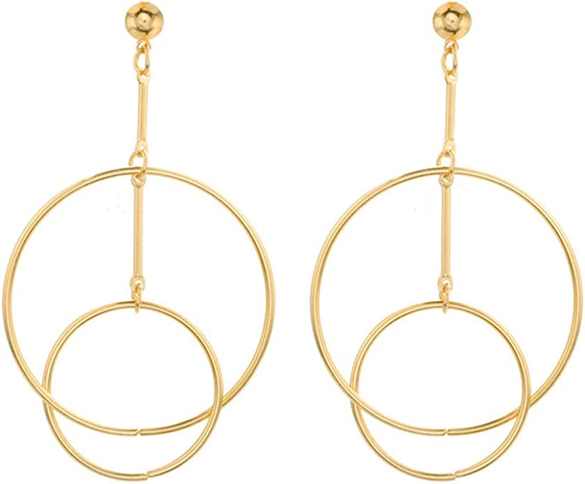 Double Circle Disc Hoop Earrings Dangle Long Pearls Strand Tassel and Stick Drop Earrings CDPPY170