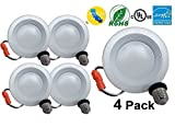 4'' Dimmable LED Downlight Baffle Trim, 540 Lumens, 3000K Warm White, Recessed Retrofit Lighting Trim, 9W (60W Replacement), ENERGY STAR UL Listed, TITLE 24 JA8-2016 Compliant 4 Pack