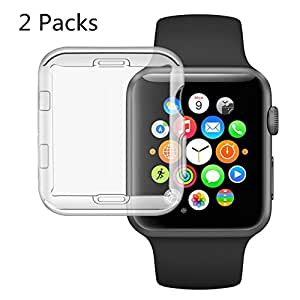 (2 Packs) Apple Watch Case 42mm, iWatch All-around Case Cover Soft TPU Screen Protector for 42mm Apple Watch Series 3/2/1