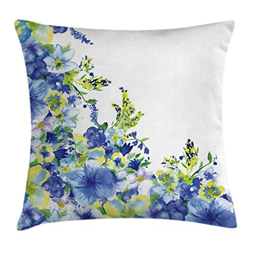 Iris Throw (Watercolor Flower House Decor Throw Pillow Cushion Cover by Ambesonne, Motley Floret Motifs with Splash Anemone Iris Revival Theme, Decorative Square Accent Pillow Case, 16 X 16 Inches, Blue Yellow)
