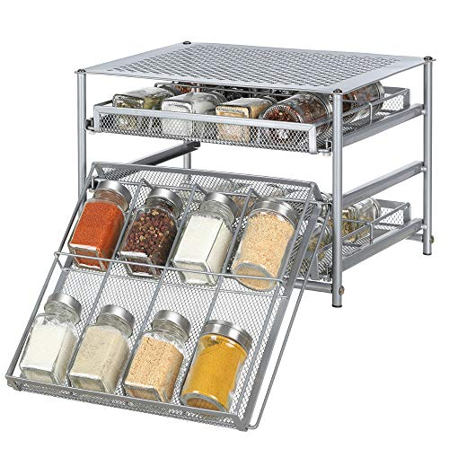 Spice Rack Organizer for Cabinets Storage, Pull Out Spice Drawer Kitchen Organization Containers for 24-48 Glass Bottle, Slide Out Cabinet for Pantry, Makeup, Nail Polish, Medicine, Silver