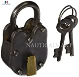 NAUTICALMART 01103 Metal Brass Lock & Keys 2'' H,1.25'' W