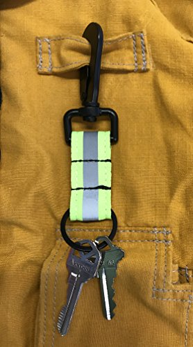LINE2design Reflective Firefighter Turnout Key Ring - Fire Rescue Nylon Key chain - Fireman Turnout Bunker Gear Accessories - Key holder strap w/Heavy Duty Black Swivel Snap Hook - Green | Great Gift