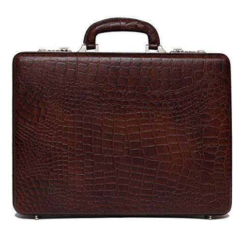 RichSign Leather Accessories 17 Inch Croco Brown Leather Briefcase for Men Office