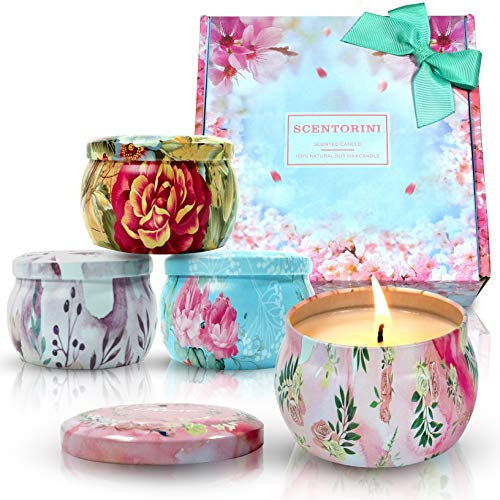 Scentorini Scented Candles Gift Set, Peony, Cinnamon Apple, Lavender and Rose, Natural Soy Wax, Portable Travel Tin Handmade Aromatherapy Floral Candle, 4X4.4oz