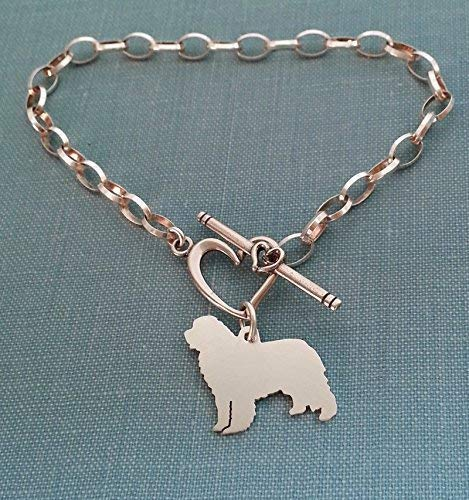 925 Sterling Silver Newfoundland Dog Chain Bracelet w/Heart Toggle Pet Memorial Jewelry