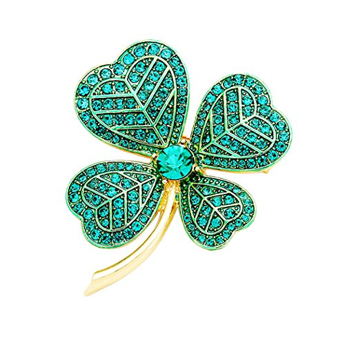 Gold Tone Leaf Clip - Rosemarie Collections Women's Lucky Irish Four Leaf Clover Pin Brooch (Gold Tone)