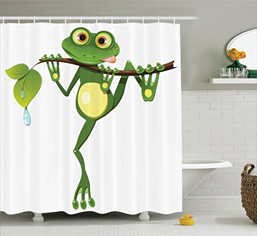 Animal Decor Shower Curtain Set By Ambesonne, Little Frog On Branch Of The  Tree In Rainforest Nature Jungle Life Artsy Earth, Bathroom Accessories, ...