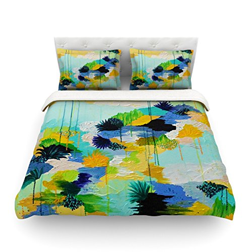 Kess InHouse EBI Emporium Journey to Paradise Yellow Aqua Cotton Queen Duvet Cover 88 x 88