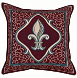"Fleur De Lis French Print Red Decorative Throw Pillow 17"" x 17"""