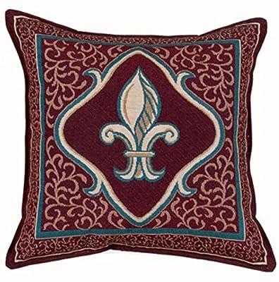 Amazoncom Fleur De Lis French Print Red Decorative Throw Pillow