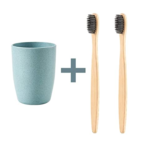 2 cepillos de dientes biodegradables ecológicos de bambú natural + 1 vaso para